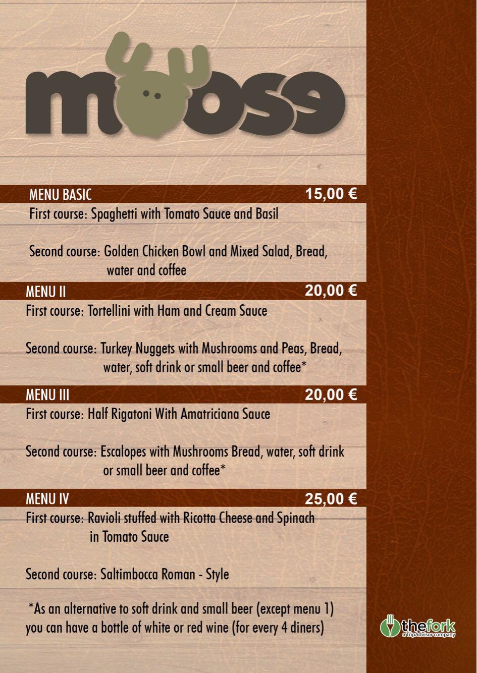Menu turistico cucina romana moose bistrot 2 moose for Menu cucina romana